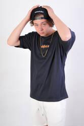 HollyHood - Sırt Turuncu Kız Nakışlı Oversize Tişört
