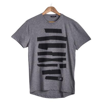 Only & Sons - Siyah Şeritli Gri T-shirt