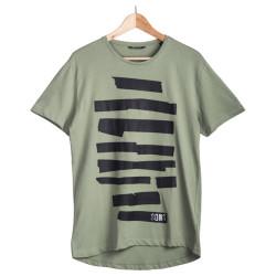 HollyHood - Only & Sons - Siyah Şeritli Yeşil T-shirt