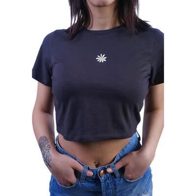 Papatya Desenli Crop Bluz
