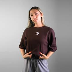 Yinyang Nakışlı Crop T-shirt - Thumbnail