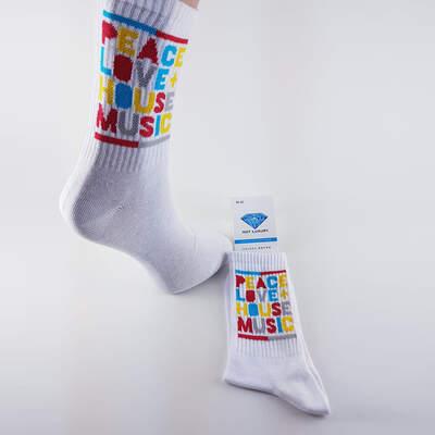 HollyHood - Peace Love House Music Beyaz Çorap