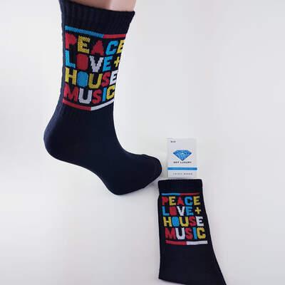 HollyHood - Peace Love House Music Siyah Çorap