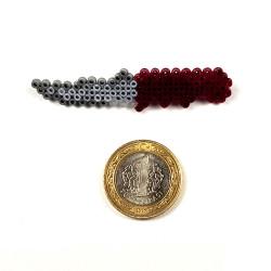 Pixel Art Flip Knife Kırmızı-Gri Rozet - Thumbnail