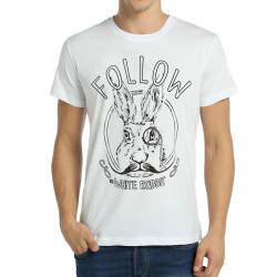 Bant Giyim - Follow White Rabbit Beyaz T-shirt - Thumbnail