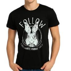 Bant Giyim - Follow White Rabbit Siyah T-Shirt - Thumbnail