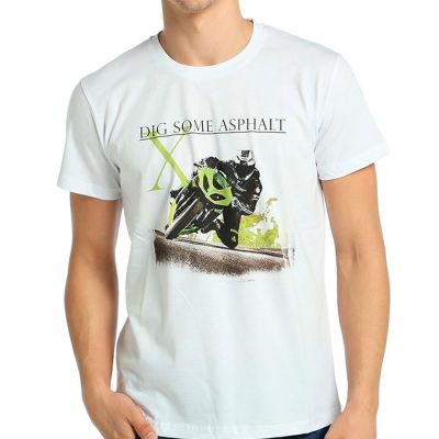 Bant Giyim - Racing Motosiklet Beyaz T-shirt