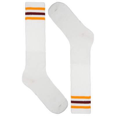 Sarı - Kırmızı Çizgili Beyaz Uzun Çorap