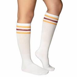Sarı - Kırmızı Çizgili Beyaz Uzun Çorap - Thumbnail