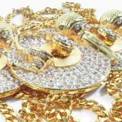 Record Taşlı Büyük HipHop Gold Kolye