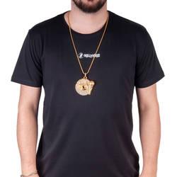 Record Taşlı Büyük HipHop Gold Kolye - Thumbnail