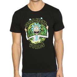 Bant Giyim - Rick And Morty Peace Among Worlds Siyah T-shirt - Thumbnail