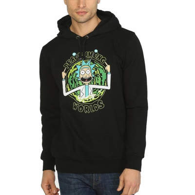 Bant Giyim - Rick And Morty Peace Among Worlds Siyah Hoodie