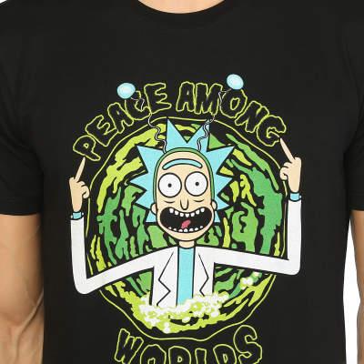 Bant Giyim - Rick And Morty Peace Among Worlds Siyah T-shirt