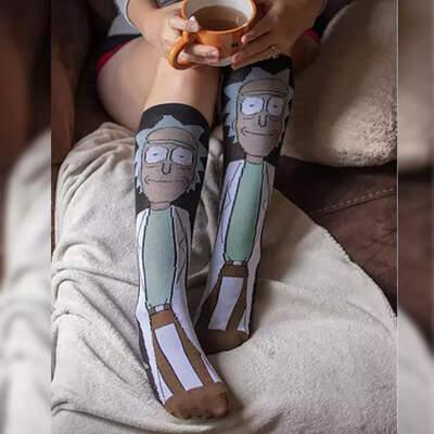 Rick and Morty Siyah Çorap