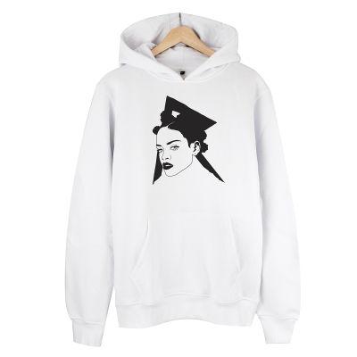 HollyHood - Rihanna Portre Beyaz Hoodie