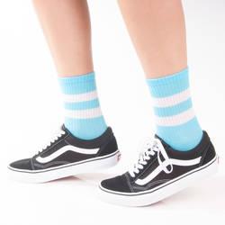SA - Beyaz Çizgili Açık Mavi Çorap - Thumbnail