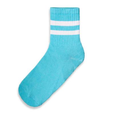 SA - Beyaz Çizgili Açık Mavi Çorap
