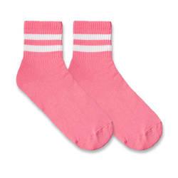 HollyHood - SA - Beyaz Çizgili Pembe Çorap