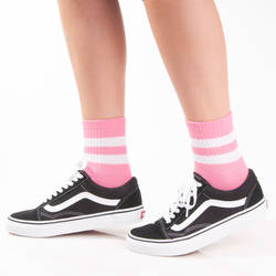 SA - Beyaz Çizgili Pembe Çorap - Thumbnail