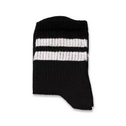 SA - Beyaz Çizgili Siyah Çorap - Thumbnail