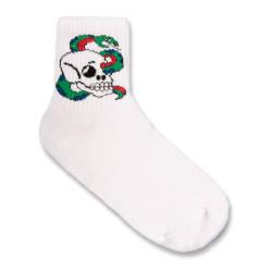 SA - Snake Skull Beyaz Çorap - Thumbnail
