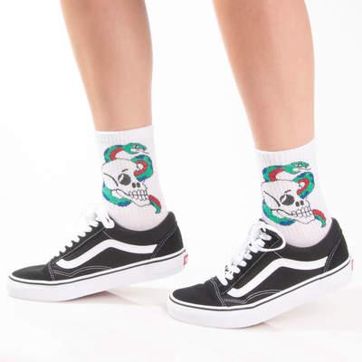 SA - Snake Skull Beyaz Çorap