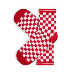 SA - Kareli Kırmızı Beyaz Çorap - Thumbnail