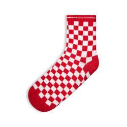 HollyHood - SA - Kareli Kırmızı Beyaz Çorap (1)