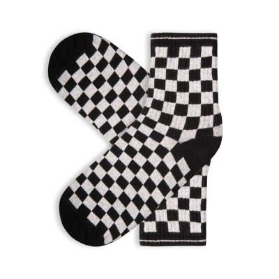 SA - Kareli Siyah Beyaz Çorap