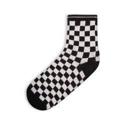 SA - Kareli Siyah Beyaz Çorap - Thumbnail
