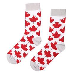 SA - Kırmızı Beyaz Yaprak Çorap - Thumbnail