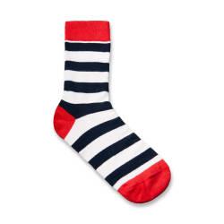 SA - Lacivert & Kırmızı Şeritli Çorap - Thumbnail