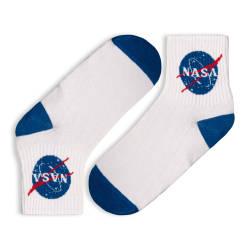 HollyHood - SA - Nasa Logo Beyaz Çorap