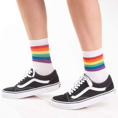 SA - Rainbow Colored Beyaz Çorap