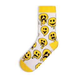 SA - Smile Emoji Beyaz Çorap - Thumbnail