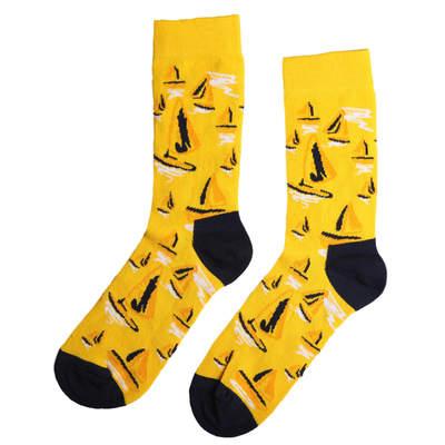 HollyHood - SA - Yelken Desenli Sarı Çorap