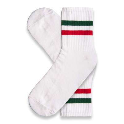 SA - Yeşil Kırmızı Çizgili Beyaz Çorap