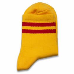 Kırmızı Çizgili Sarı Çorap - Thumbnail