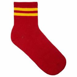 Sarı Çizgili Kırmızı Çorap - Thumbnail
