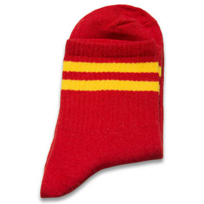 Sarı Çizgili Kırmızı Çorap