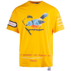 Saw - Bird Oversize Sarı T-shirt - Thumbnail