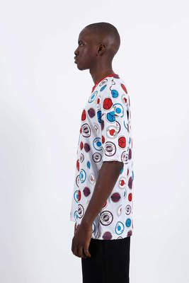 Saw - Button Badges T-Shirt Beyaz