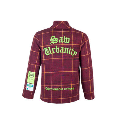Saw - Saw - Kareli Bordo Fermuarlı Ceket