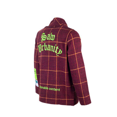 Saw - Kareli Bordo Fermuarlı Ceket