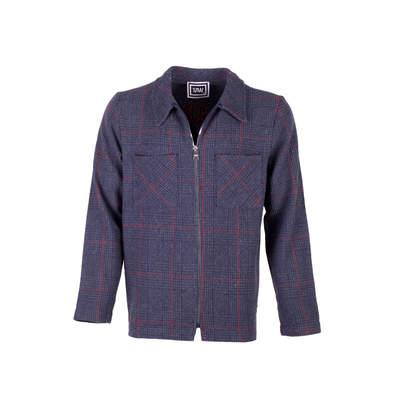 Saw - Kareli Lacivert Fermuarlı Ceket