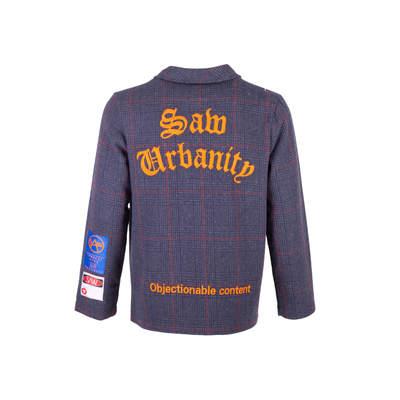 Saw - Saw - Kareli Lacivert Fermuarlı Ceket