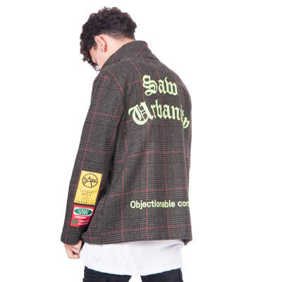 Saw - Kareli Haki Fermuarlı Ceket