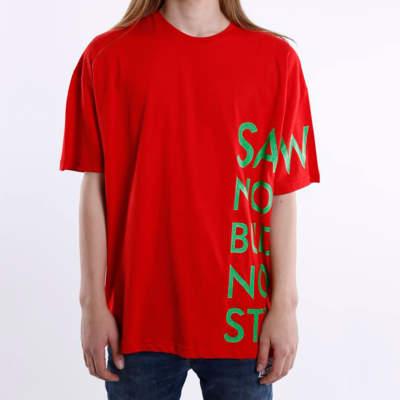 Saw - Saw Co. No Oversize Kırmızı T-shirt