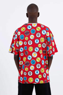 Saw - Button Badges T-Shirt Kırmızı